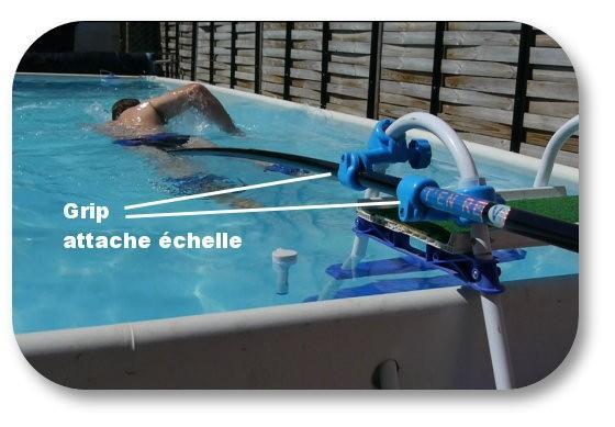 perche de nage sur place statique + grip attache échelle