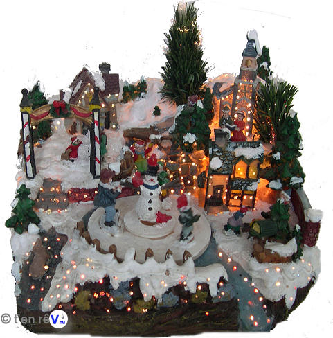 decoration de noel village miniature creche de noel en kit