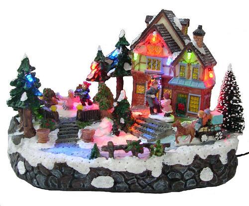 D coration de no l village miniature anim cr che for Decoration maison de noel
